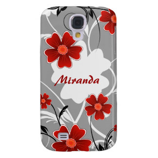 Personalized Red Flowers and Silhouette Galaxy S4 Cover