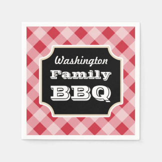 Personalized Red Gingham Family BBQ Party Napkins Disposable Serviettes