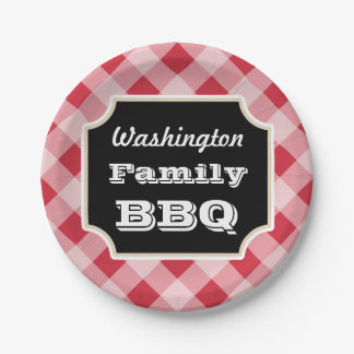 Personalized Red Gingham Paper Plates