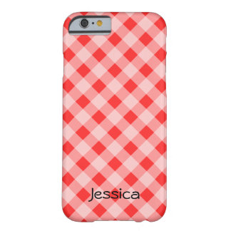 Personalized red gingham pattern iPhone 6 case