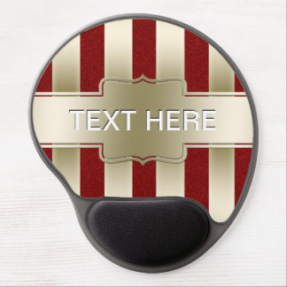 Personalized Red Glitter and Gold Stripes Pattern Gel Mousepad