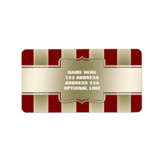 Personalized Red Glitter and Gold Stripes Pattern Address Label