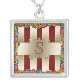 Personalized Red Glitter and Gold Stripes Pattern Necklaces