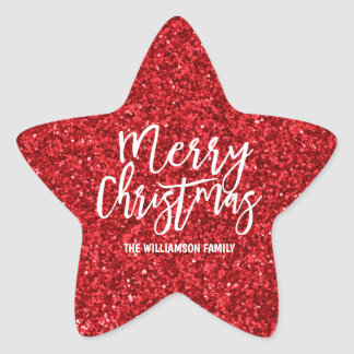 Personalized Red Glitter & White Merry Christmas Star Sticker