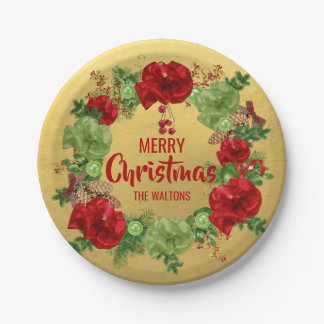 Personalized RED Gold MERRY CHRISTMAS Wreath Paper Plate