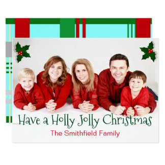 "Personalized Red & Green ""Holly Jolly Christmas"" Card"