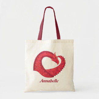 Personalized Red heart dragon Tote Bag