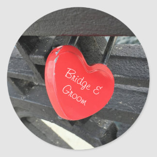 Personalized Red Heart Shaped Lock Classic Round Sticker