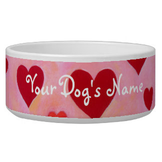 Personalized Red Hearts Painting Dog Food Bowl