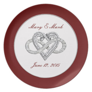 "Personalized Red Infinity Heart 10"" Melamine Plate"