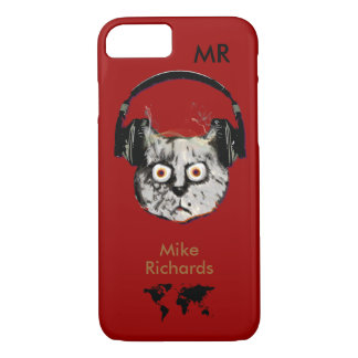 personalized red iPhone 7 with dj cat iPhone 7 Case