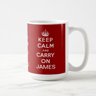 Personalized Red Keep Calm and Carry On Mugs