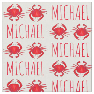 Personalized Red Maryland Crab Crabs Beach Fabric