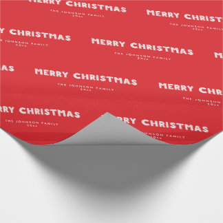 Personalized Red Merry Christmas Wrapping Paper