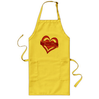 Personalized Red Mom Heart Mother's Day Birthday Long Apron
