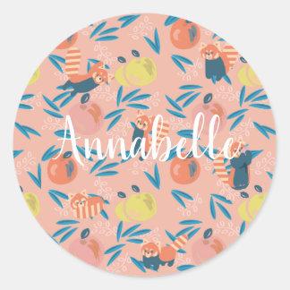 Personalized 'Red Panda' Pink Apple Sticker