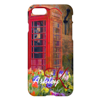 Personalized Red Phone Booth Vintage Art iPhone 7 Case