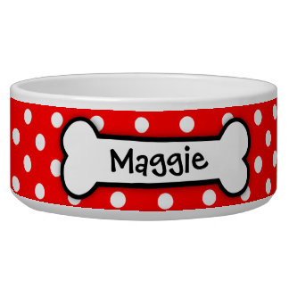Personalized Red Polka Dot Dog Bowl