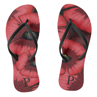 Personalized Red Poppy Flip Flops Thongs