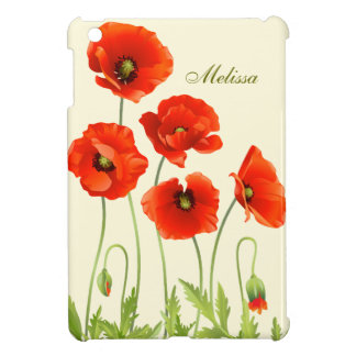 Personalized Red Poppy Flowers iPad Mini Case