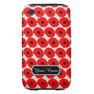 Personalized Red Poppy Flowers iPhone 3G/3GS Case iPhone 3 Tough Case