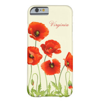 Personalized Red Poppy Flowers iPhone 6 case Barely There iPhone 6 Case