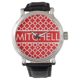 Personalized Red Quatrafoil FB Wristwatches