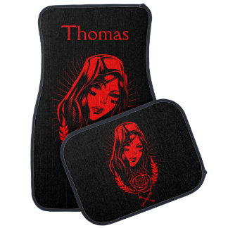 Personalized Red Religious Woman Figure Car Mat