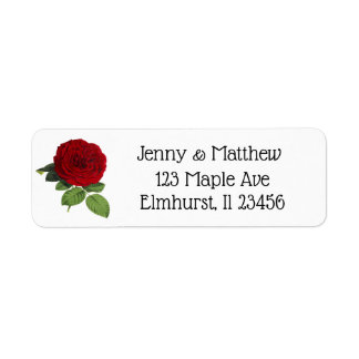 Personalized Red Rose Return Address Labels