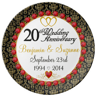 Personalized Red Rubies Porcelain 20th Anniversary Plate