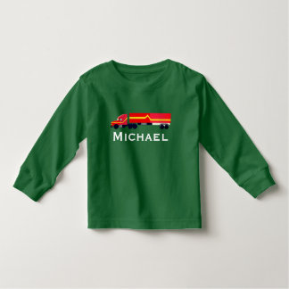 Personalized Red Semi Tractor with Trailer Toddler T-Shirt