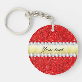 Personalized Red Sequins, Gold Foil, Diamonds Double-Sided Round Acrylic Key Ring