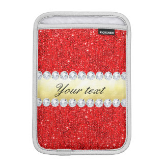 Personalized Red Sequins, Gold Foil, Diamonds iPad Mini Sleeve