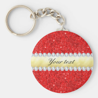 Personalized Red Sequins, Gold Foil, Diamonds Key Ring