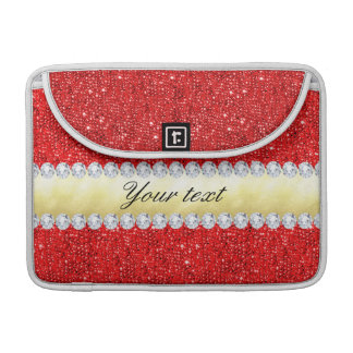 Personalized Red Sequins, Gold Foil, Diamonds Sleeves For MacBook Pro
