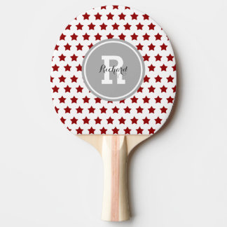 Personalized Red Stars Ping Pong Paddle