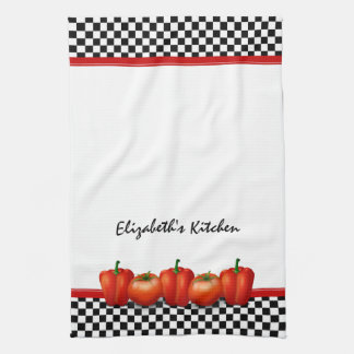 Personalized Red Tomatoes Pepper Italian Style Tea Towel