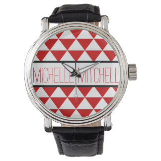 Personalized Red Tristack Wrist Watches
