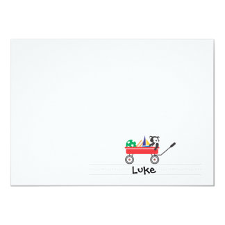 Personalized Red Wagon Flat Note card