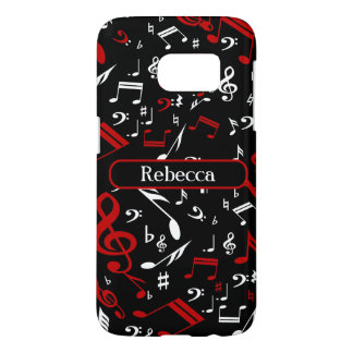 Personalized Red White and Black Musical Notes