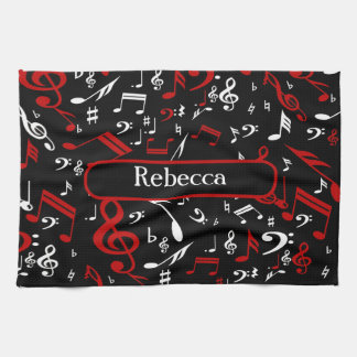 Personalized Red White and Black Musical Notes Hand Towel