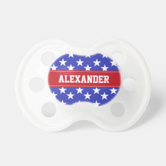 Personalized Red, White and Blue Star Pacifier