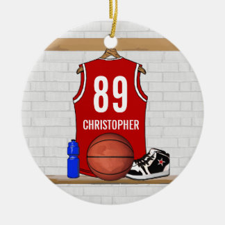 Personalized Red White Basketball Jersey Ceramic Ornament