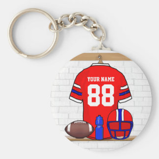 Personalized Red White Blue Football Jersey Key Ring