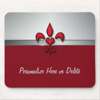 Personalized Red White Gray Fleur de Lis Heart Mouse Pad
