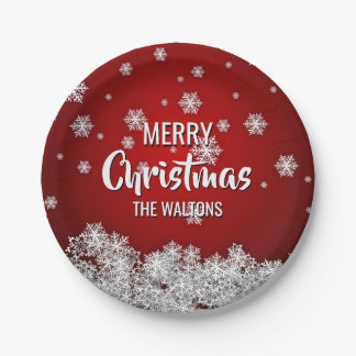 Personalized RED White MERRY CHRISTMAS Snowflakes Paper Plate