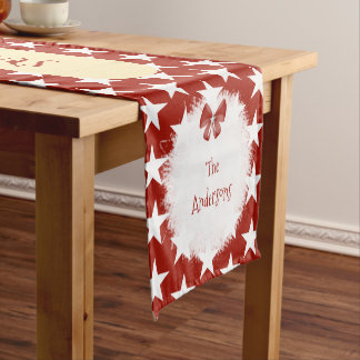 Personalized red with stars Christmas family name Short Table Runner