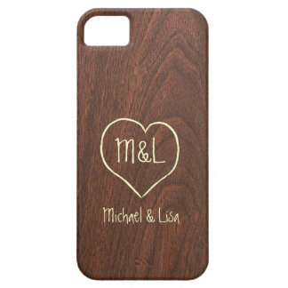 Personalized Red Wood Texture with Heart Case For The iPhone 5