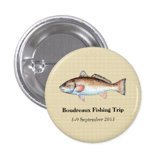 Personalized Redfish Fishing Event Pinback Button