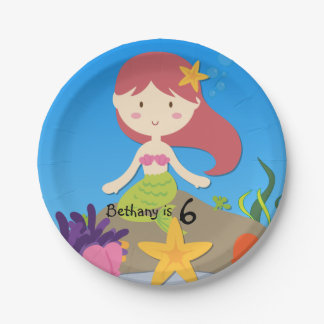 Personalized Redhead Mermaid Birthday Paper Plate